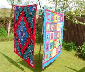 quilts on clothesline